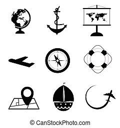 állhatatos, szín, utazás, ábra, fekete, fehér, ikon