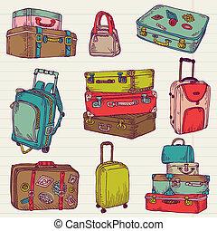 állhatatos, színes, bőrönd, szüret, -, vektor, tervezés, scrapbook