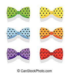 állhatatos, színes, polka, íj, ties., pont