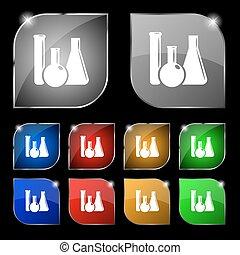állhatatos, színes, tíz, cégtábla., glare., gombok, vektor, pohár, laboratórium, kémia, ikon