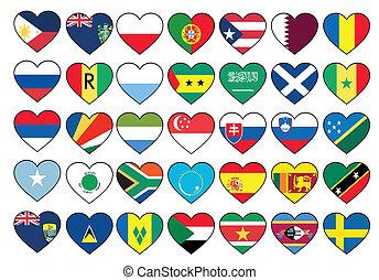 állhatatos, szív, zászlók