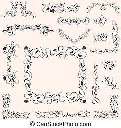 állhatatos, szüret, calligraphic, dekoráció, vektor, tervezés elem