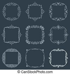 állhatatos, szüret, decoration., calligraphic, vektor, keret, oldal