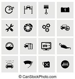 állhatatos, szolgáltatás, ikonok, autó, vektor, fekete