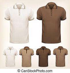 állhatatos, t-shirts., színes, férfiak, ábra, vektor, tervezés, retro, template.