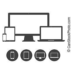 állhatatos, tabletta, ikonok, mobile telefon, bemutatás, laptop, sablon, eszköz, elektronikus