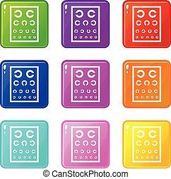 állhatatos, tabletta, ikonok, szín, gyűjtés, szemészet, 9