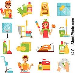 állhatatos, takarítás, szolgáltatás, ikon