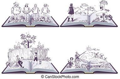 állhatatos, tanár, ábra, sawyer, musketeers, tomi, quixote, nyitott könyv