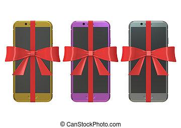 állhatatos, tehetség, concept., modern, hajóorr, vakolás, smartphones, gyeplő, 3