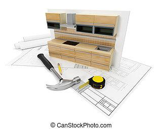 állhatatos, tervezés, kitchen., illustration:, tools., ...