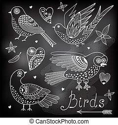 állhatatos, vektor, hearts., madarak