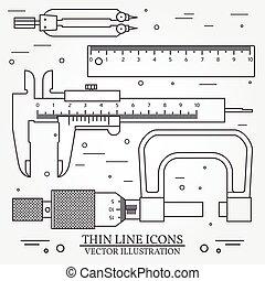 állhatatos, vektor, sovány megtölt, ikonok, caliper, vonalzó, pár, közül, iránytű, és, micrometer., helyett, szövedék tervezés, és, alkalmazás, határfelület, is, hasznos, helyett, infographics., vektor, sötét, grey., vektor, illustration.