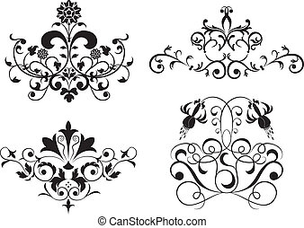 állhatatos, virág, elem, gyűjt, vektor, tervezés