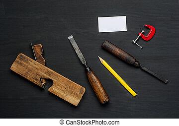 állhatatos, wooden tető, ács, felszerelés, asztal, eszközök,...
