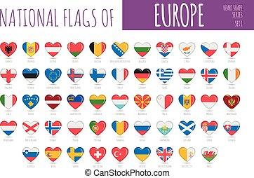 állhatatos, zászlók, országok, 56, ikon, szív alakzat, illustration., europe., vektor