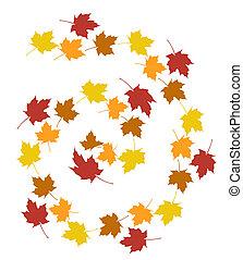 állhatatos, zöld, ősz, háttér., fehér, felett