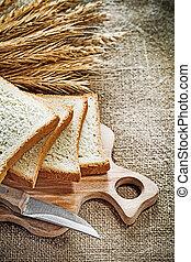 állhatatos, zsákvászon, rozs, hát, szelet, hullámzik kosztol, kenyér kés, fülek