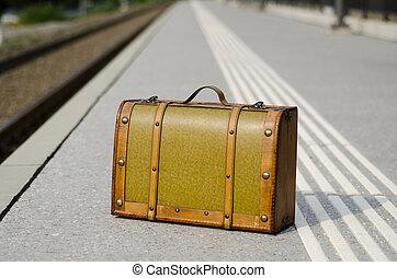 állomás, kiképez, öreg, bőrönd