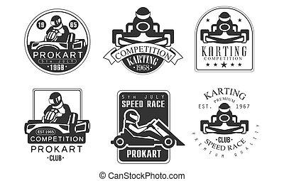 állomás, vektor, versenyzés, jelvény, retro, ábra, állhatatos, szerelő, procart, elnevezés, monochrom, verseny, karting, klub