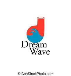 álmodik, vektor, levél, jel, átmérő, lenget, tervezés