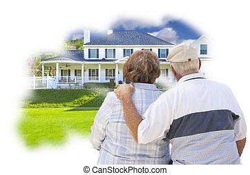 álmodozás, senior összekapcsol, felett, szokás, otthon, fénykép, gondolkodik panama