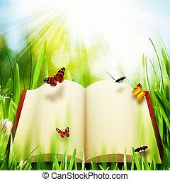 álmodozó, környezeti, elvont, háttér, világ