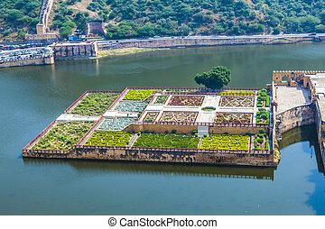 ámbar, jaipur, india, maota, lago, rajasthan, jardines, ...