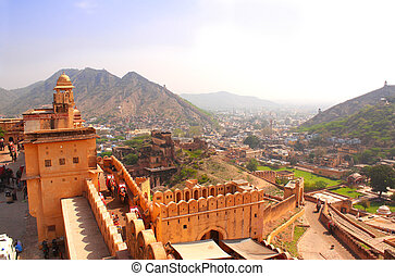 ámbar, jaipur, rajasthan, india, fortaleza