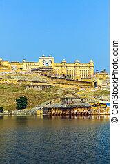 ámbar, señal, india, -, famoso, rajasthan, fortaleza,...