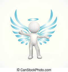 ángel, 3d, hombre