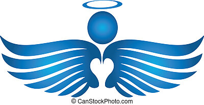 ángel azul, rezando, logotipo
