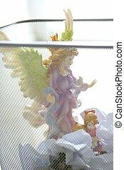 ángel, basura, santo, figura, oficina