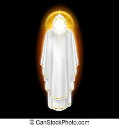 ángel blanco, en, negro