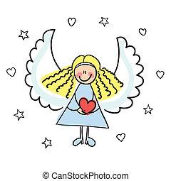 ángel, con, corazón