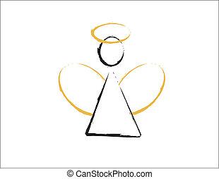 ángel, con, dorado, alas, y, halo