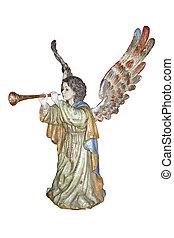 ángel, con, trompeta, barroco, polychromed, sculpture.