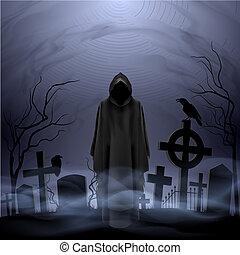 ángel de la muerte, en, el, cementerio