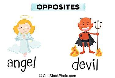 ángel, diablo, palabras, contrario