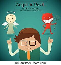 ángel, hombro, diablo