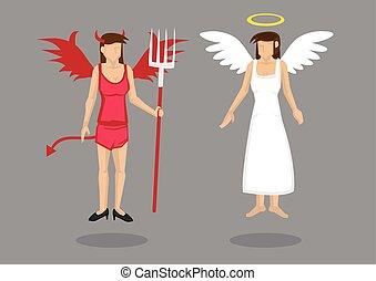 ángel, ilustración, diablo, caricatura, caracteres