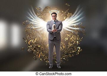 ángel inversionista, alas, concepto, hombre de negocios