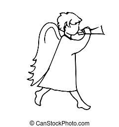 ángel, lindo, hombre pequeño, al juego, el, trompeta
