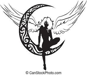 ángel, luna