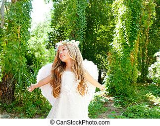 ángel, niños, brazos, alas, bosque, blanco, abierto, niña