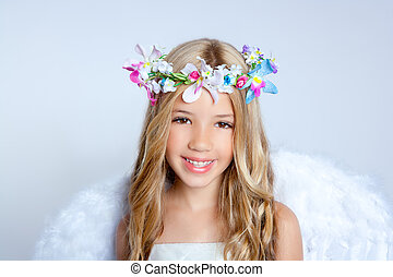 ángel, niños, niña, retrato, moda, blanco, alas