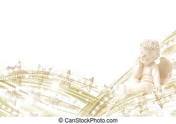 ángel, oro, estrellas, plano de fondo