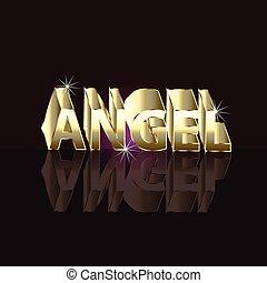 ángel, palabra, en, 3d, oro, carta, señal
