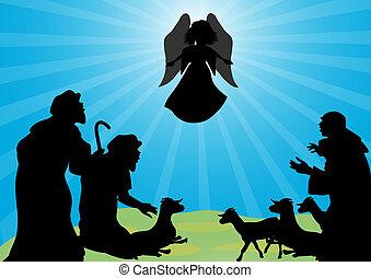 ángel, pastores, silueta