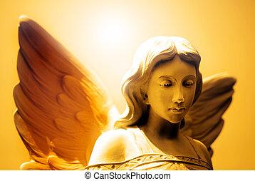 ángel, y, celestial, luz